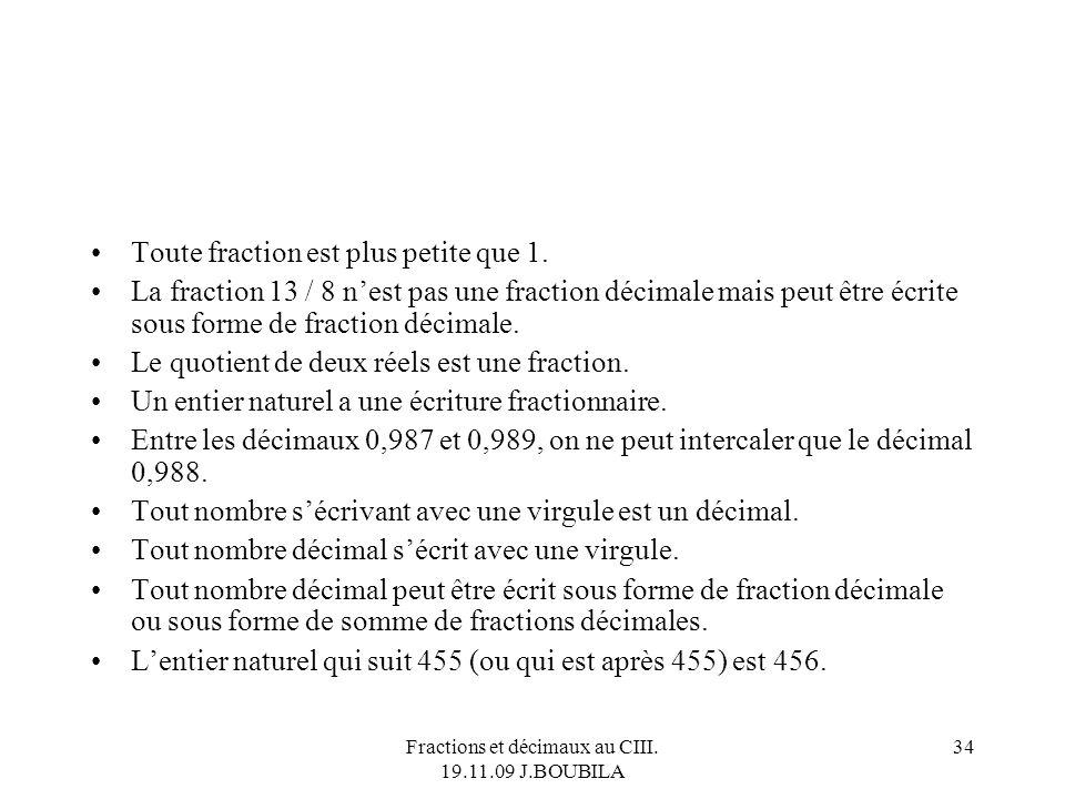 Fractions et décimaux au CIII. 19.11.09 J.BOUBILA 33 Alors, on dit quoi ? 3 est un décimal. 3,14 est un décimal; π est un décimal. π est un rationnel.