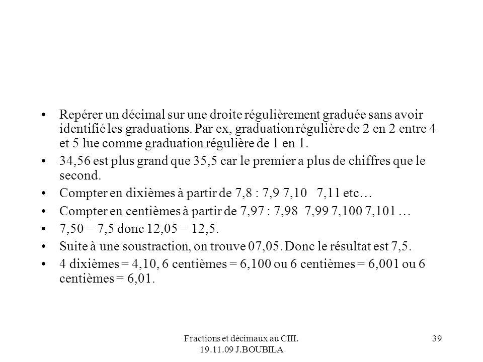 Fractions et décimaux au CIII. 19.11.09 J.BOUBILA 38 Fatou a 2 pièces de 1, 2 pièces de 20 cent et de 9 pièces de 1 cent. John dispose lui de 2 pièces