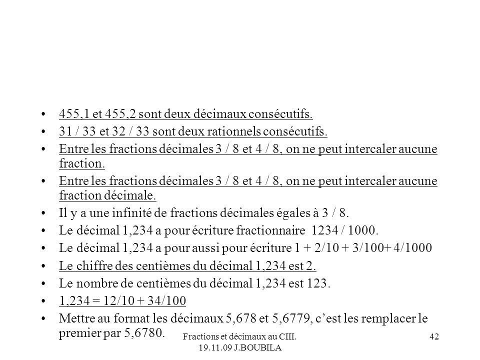 Fractions et décimaux au CIII. 19.11.09 J.BOUBILA 41 Toute fraction est plus petite que 1. La fraction 13 / 8 nest pas une fraction décimale mais peut