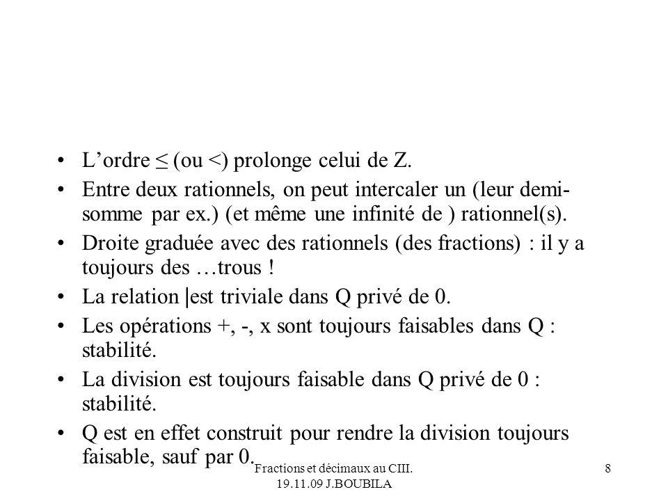 Fractions et décimaux au CIII. 19.11.09 J.BOUBILA 7 Lensemble Q des nombres rationnels Un élément de Q peut toujours être écrit sous forme de fraction