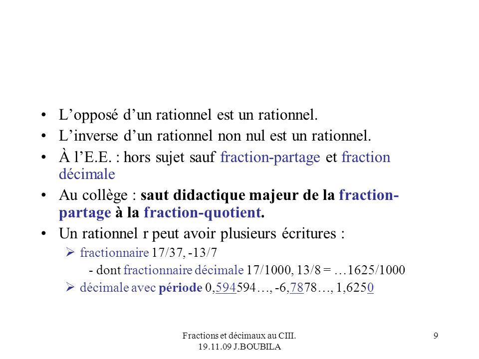 Fractions et décimaux au CIII. 19.11.09 J.BOUBILA 8 Lordre (ou <) prolonge celui de Z. Entre deux rationnels, on peut intercaler un (leur demi- somme
