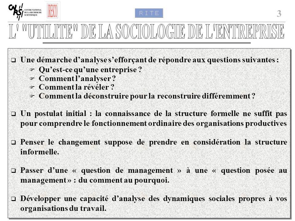 3 Une démarche danalyse sefforçant de répondre aux questions suivantes : Quest-ce quune entreprise ? Comment lanalyser ? Comment la révéler ? Comment
