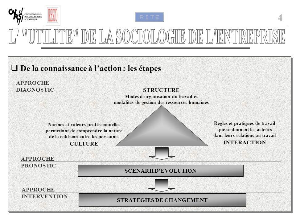 4 De la connaissance à laction : les étapes STRUCTURE Modes dorganisation du travail et modalités de gestion des ressources humaines Normes et valeurs