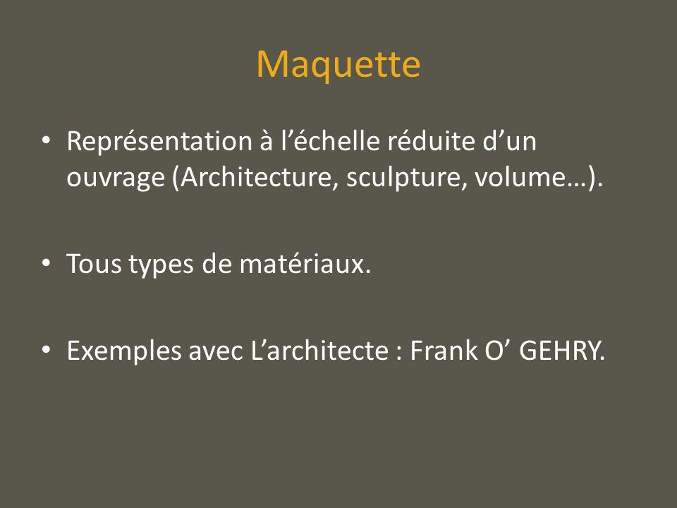 Maquette Représentation à léchelle réduite dun ouvrage (Architecture, sculpture, volume…). Tous types de matériaux. Exemples avec Larchitecte : Frank