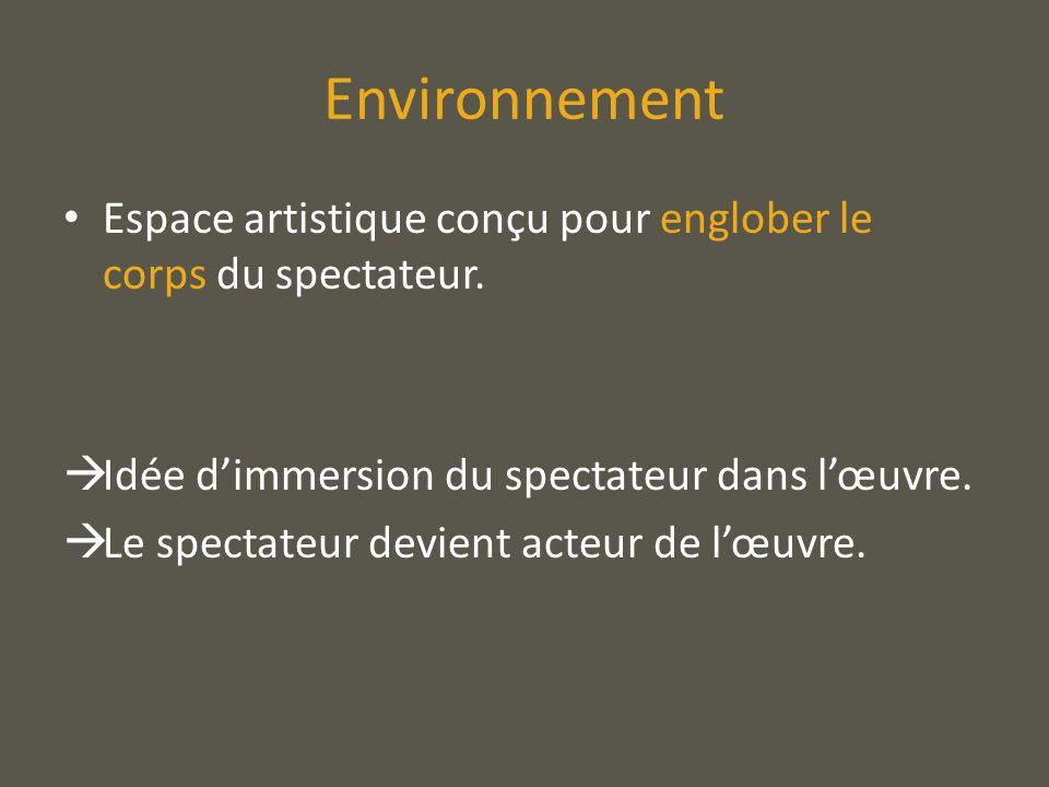 Environnement Espace artistique conçu pour englober le corps du spectateur. Idée dimmersion du spectateur dans lœuvre. Le spectateur devient acteur de