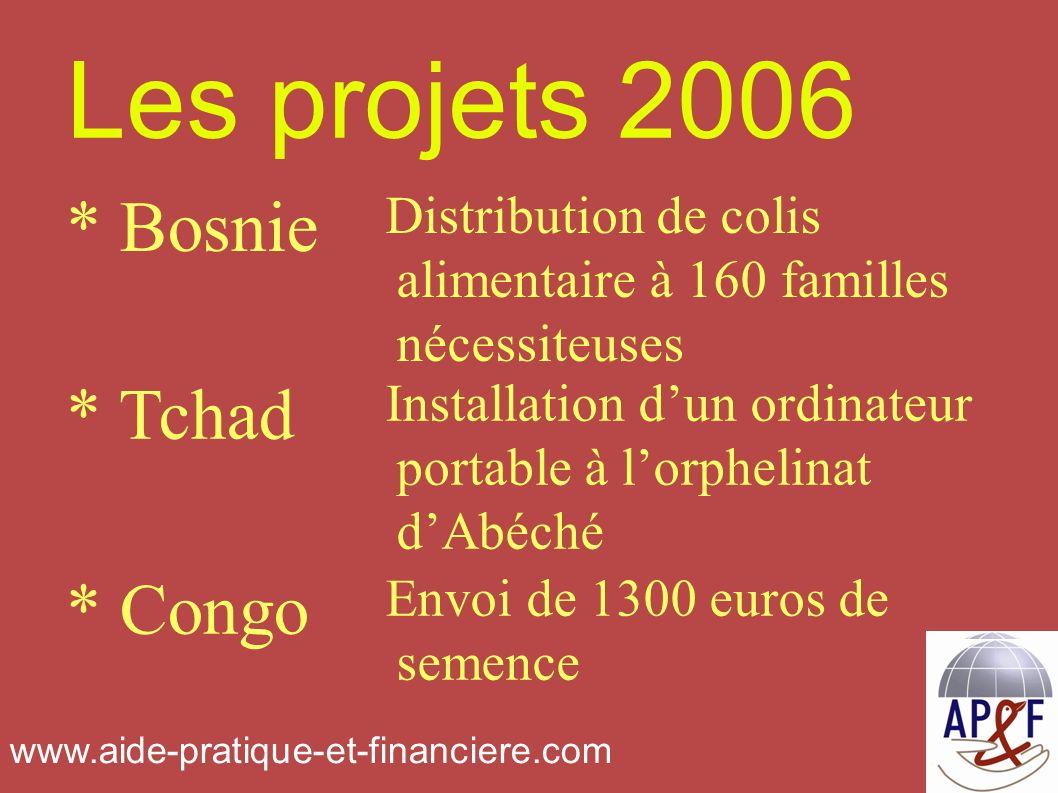 Les projets 2006 Envoi de 1300 euros de semence * Congo Installation dun ordinateur portable à lorphelinat dAbéché * Tchad Distribution de colis alimentaire à 160 familles nécessiteuses * Bosnie www.aide-pratique-et-financiere.com
