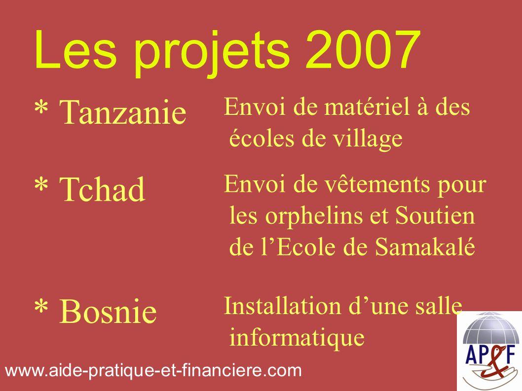 Les projets 2007 Installation dune salle informatique * Bosnie Envoi de vêtements pour les orphelins et Soutien de lEcole de Samakalé * Tchad Envoi de