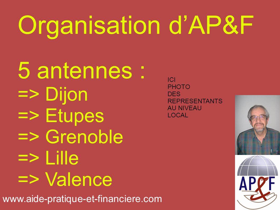 Organisation dAP&F 5 antennes : => Dijon => Etupes => Grenoble => Lille => Valence ICI PHOTO DES REPRESENTANTS AU NIVEAU LOCAL www.aide-pratique-et-financiere.com