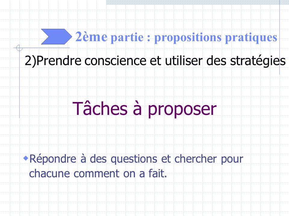 2ème partie : propositions pratiques 2)Prendre conscience et utiliser des stratégies Tâches à proposer Répondre à des questions et chercher pour chacu