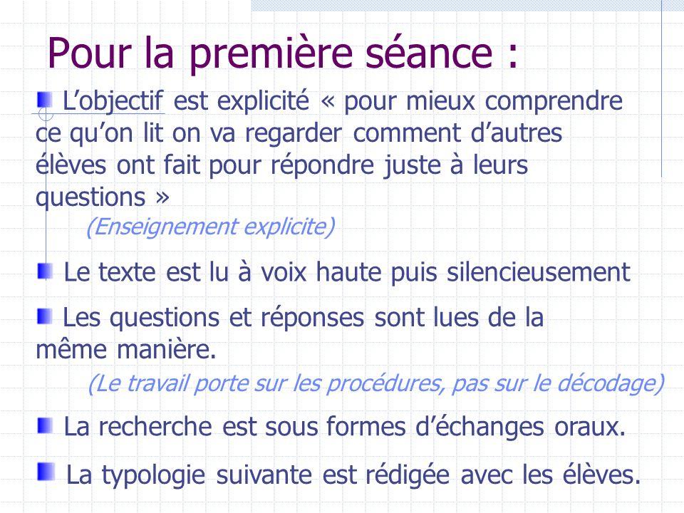 Pour répondre à des questions on peut : B Reformuler des morceaux du texte (Q 2-5) C Réunir des informations du texte (Q 1) D Utiliser des connaissances que nous avions avant de lire le texte (Q 3) A Recopier un morceau du texte (Q 4)