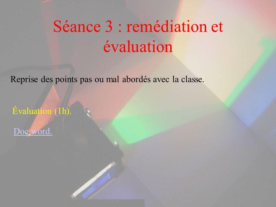 Séance 3 : remédiation et évaluation Reprise des points pas ou mal abordés avec la classe. Évaluation (1h). Doc word.
