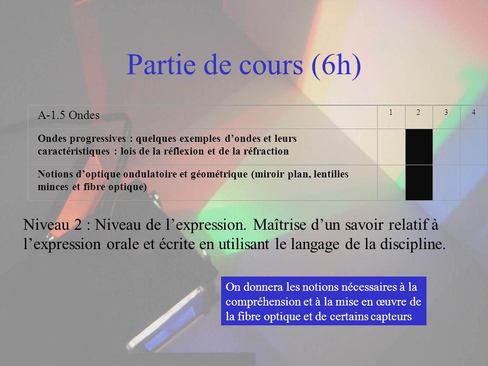 Partie de cours (6h) Niveau 2 : Niveau de lexpression. Maîtrise dun savoir relatif à lexpression orale et écrite en utilisant le langage de la discipl