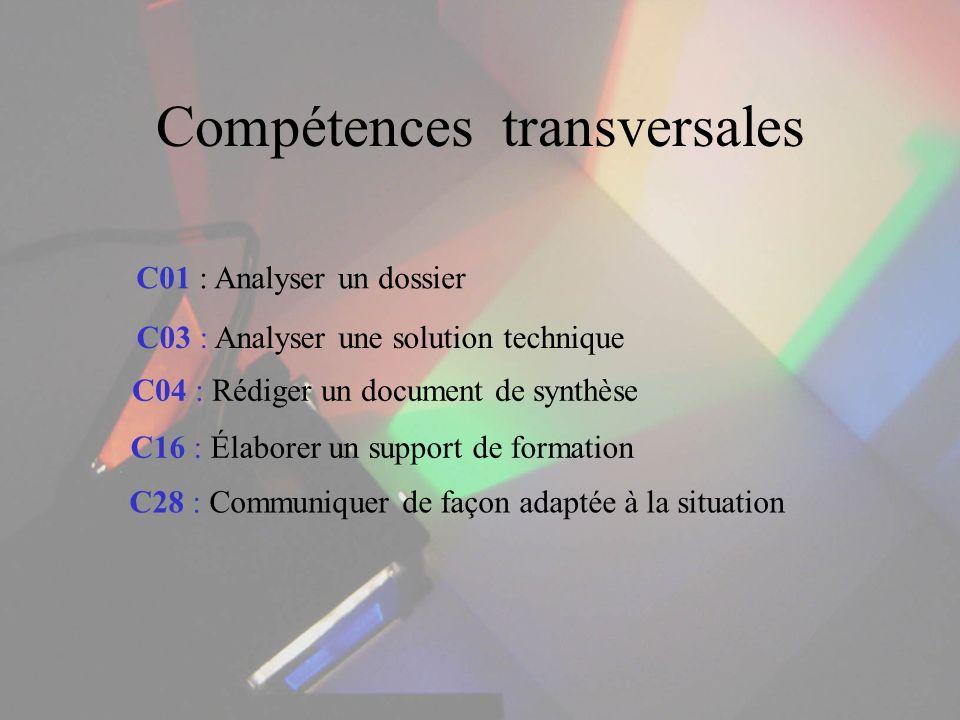 Compétences transversales C01 : Analyser un dossier C03 : Analyser une solution technique C04 : Rédiger un document de synthèse C16 : Élaborer un supp