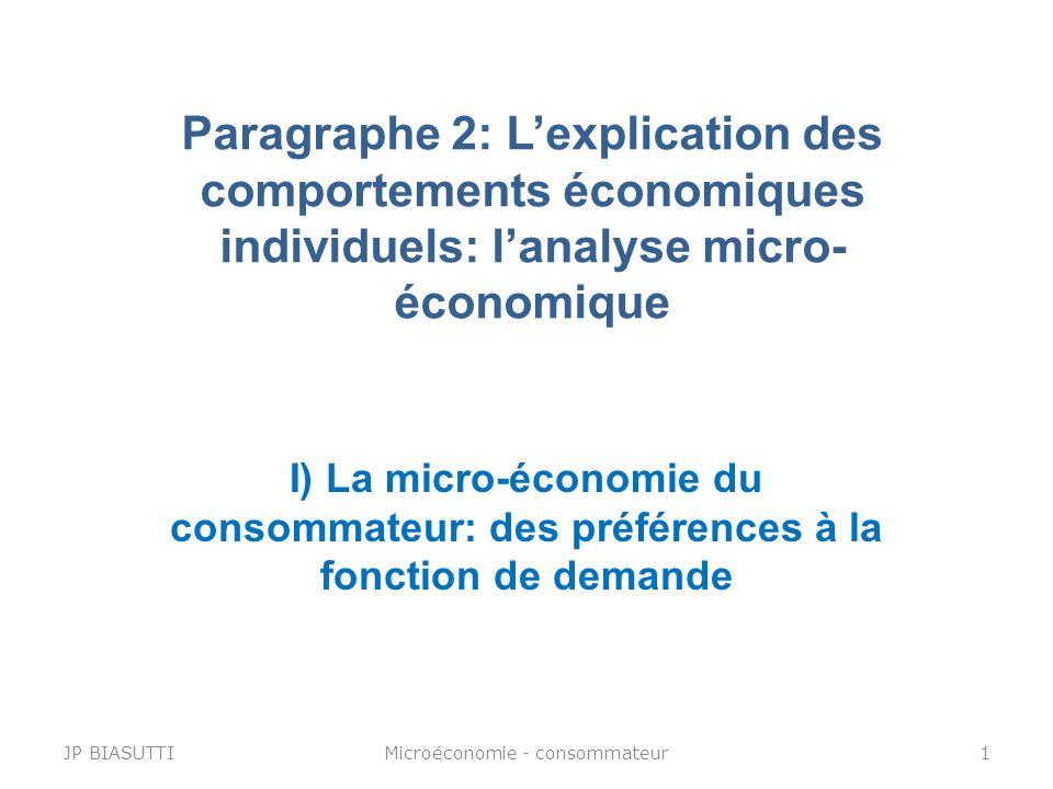 Paragraphe 2: Lexplication des comportements économiques individuels: lanalyse micro- économique JP BIASUTTI1Microéconomie - consommateur I) La micro-