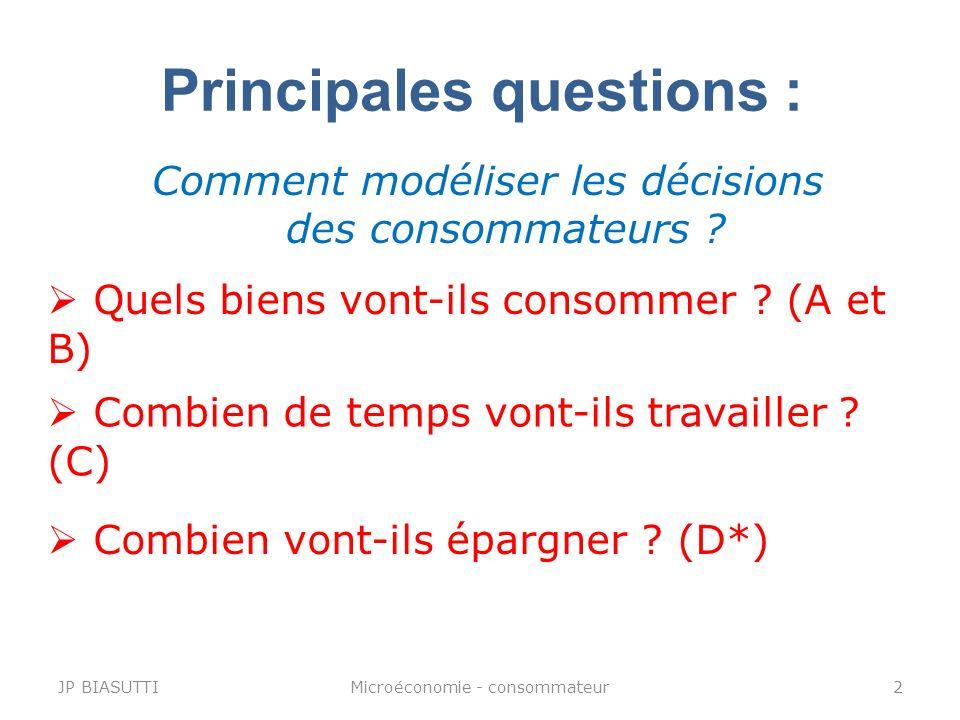 Principales questions : Comment modéliser les décisions des consommateurs ? Quels biens vont-ils consommer ? (A et B) Combien vont-ils épargner ? (D*)