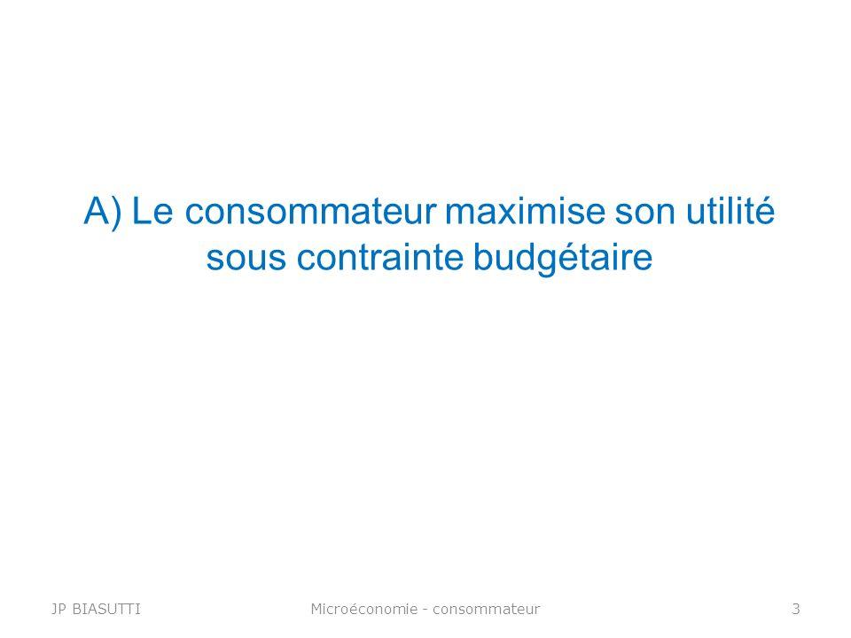 A) Le consommateur maximise son utilité sous contrainte budgétaire JP BIASUTTIMicroéconomie - consommateur3