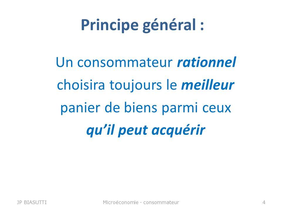 Principe général : Un consommateur rationnel choisira toujours le meilleur panier de biens parmi ceux quil peut acquérir JP BIASUTTI4Microéconomie - c