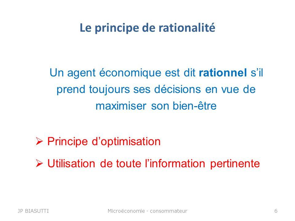 Le principe de rationalité Un agent économique est dit rationnel sil prend toujours ses décisions en vue de maximiser son bien-être Principe doptimisa