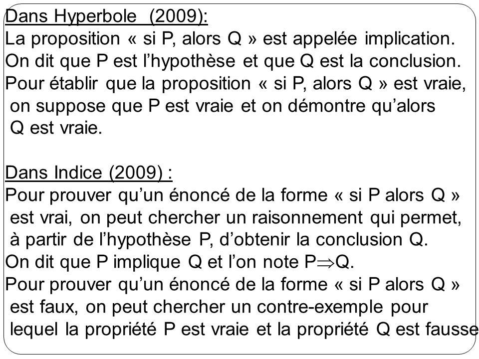 Dans Hyperbole (2009): La proposition « si P, alors Q » est appelée implication. On dit que P est lhypothèse et que Q est la conclusion. Pour établir