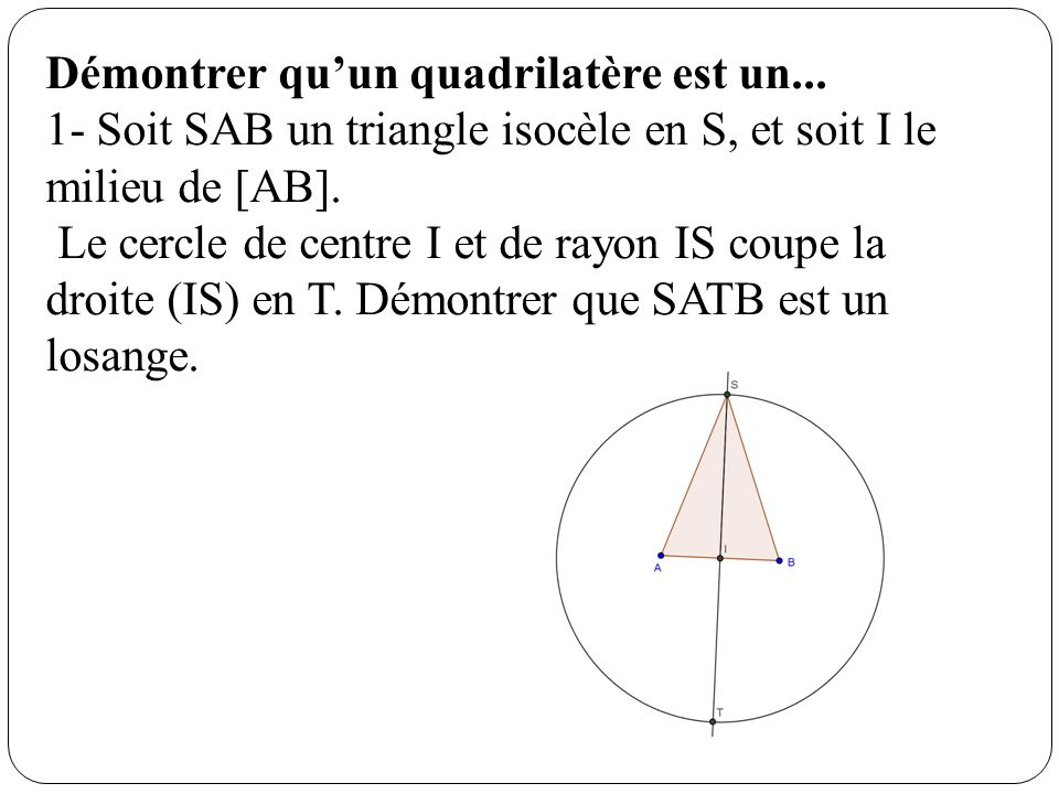 Démontrer quun quadrilatère est un... 1- Soit SAB un triangle isocèle en S, et soit I le milieu de [AB]. Le cercle de centre I et de rayon IS coupe la