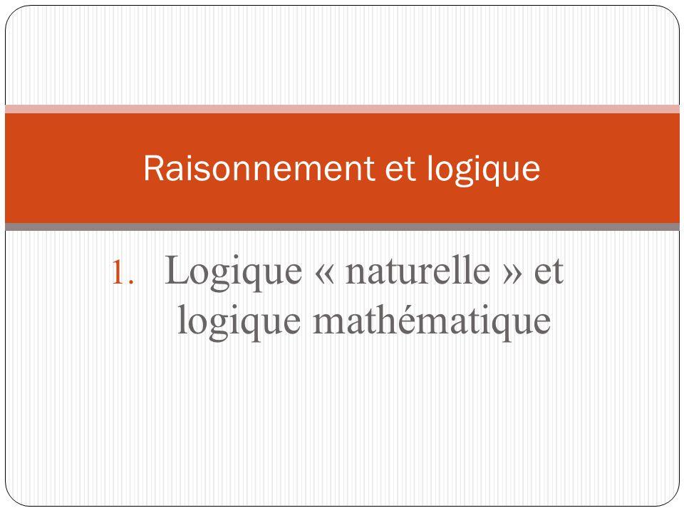 1. Logique « naturelle » et logique mathématique Raisonnement et logique
