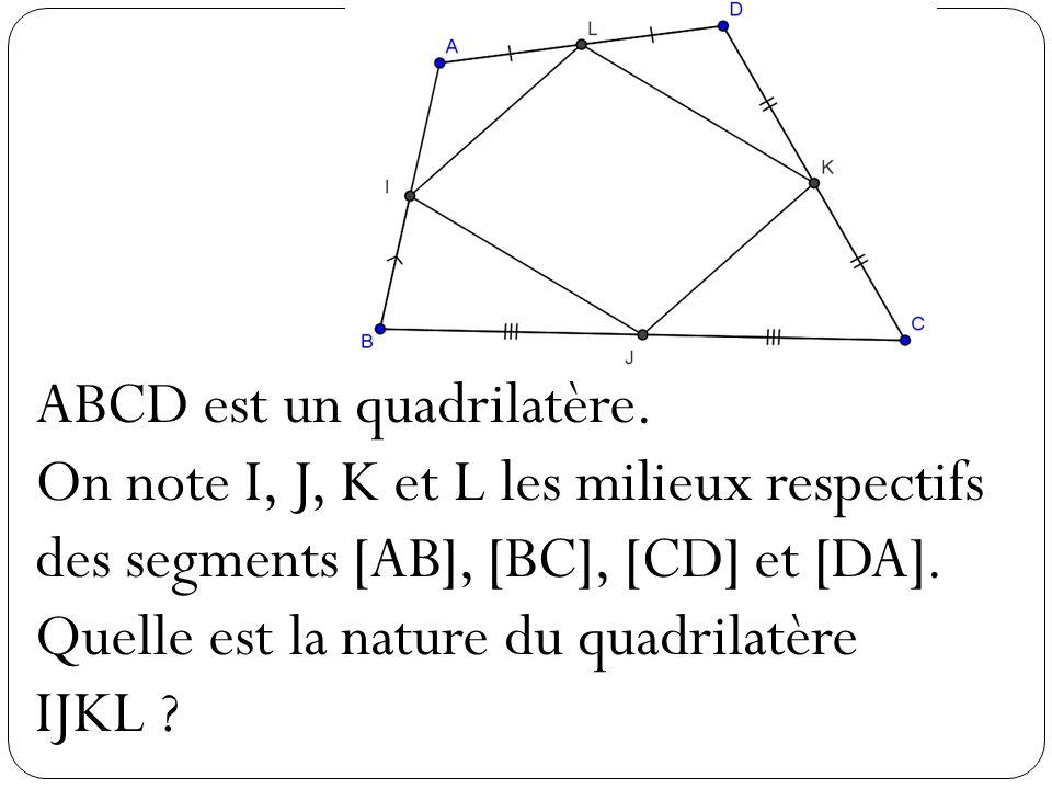 ABCD est un quadrilatère. On note I, J, K et L les milieux respectifs des segments [AB], [BC], [CD] et [DA]. Quelle est la nature du quadrilatère IJKL