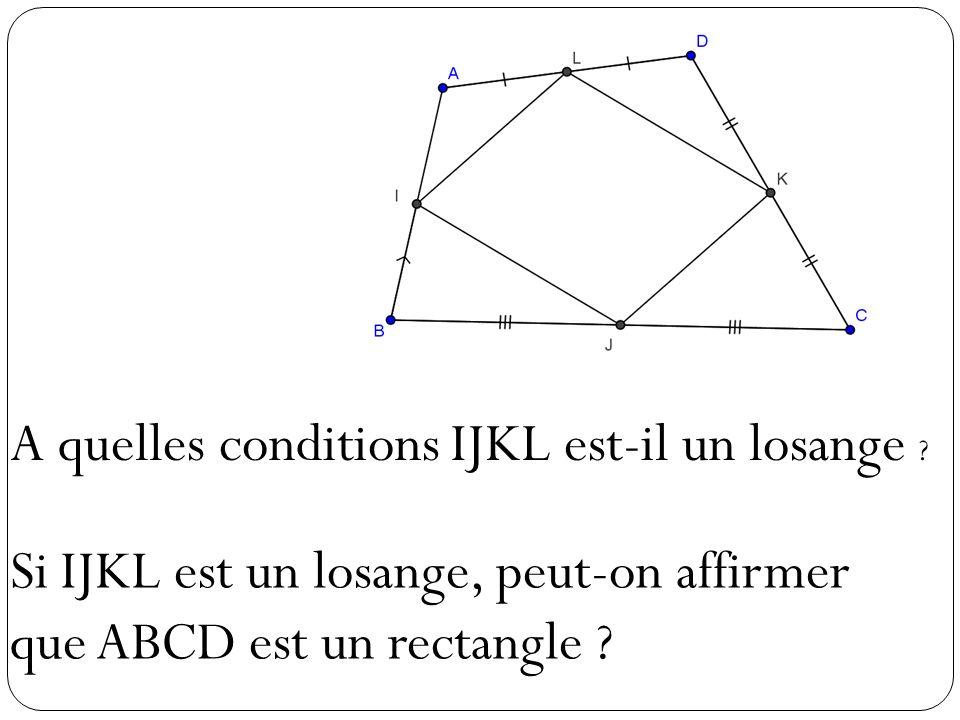 A quelles conditions IJKL est-il un losange ? Si IJKL est un losange, peut-on affirmer que ABCD est un rectangle ?