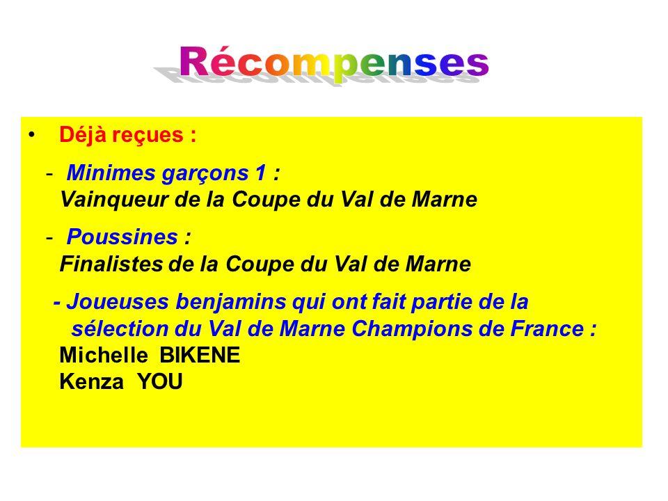 Déjà reçues : - Minimes garçons 1 : Vainqueur de la Coupe du Val de Marne - Poussines : Finalistes de la Coupe du Val de Marne - Joueuses benjamins qu