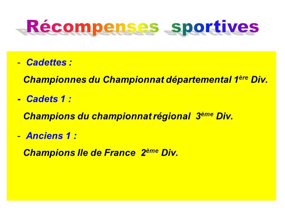 - Cadettes : Championnes du Championnat départemental 1 ère Div. - Cadets 1 : Champions du championnat régional 3 ème Div. - Anciens 1 : Champions Ile