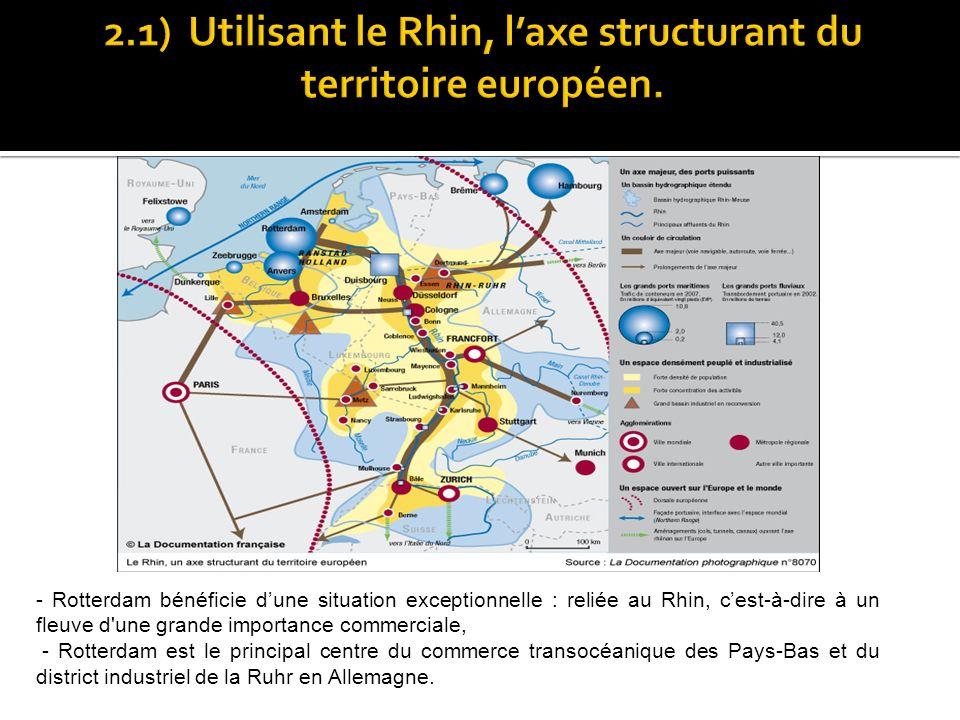 - Rotterdam bénéficie dune situation exceptionnelle : reliée au Rhin, cest-à-dire à un fleuve d'une grande importance commerciale, - Rotterdam est le