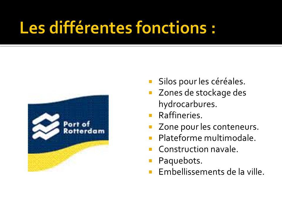 Silos pour les céréales. Zones de stockage des hydrocarbures. Raffineries. Zone pour les conteneurs. Plateforme multimodale. Construction navale. Paqu