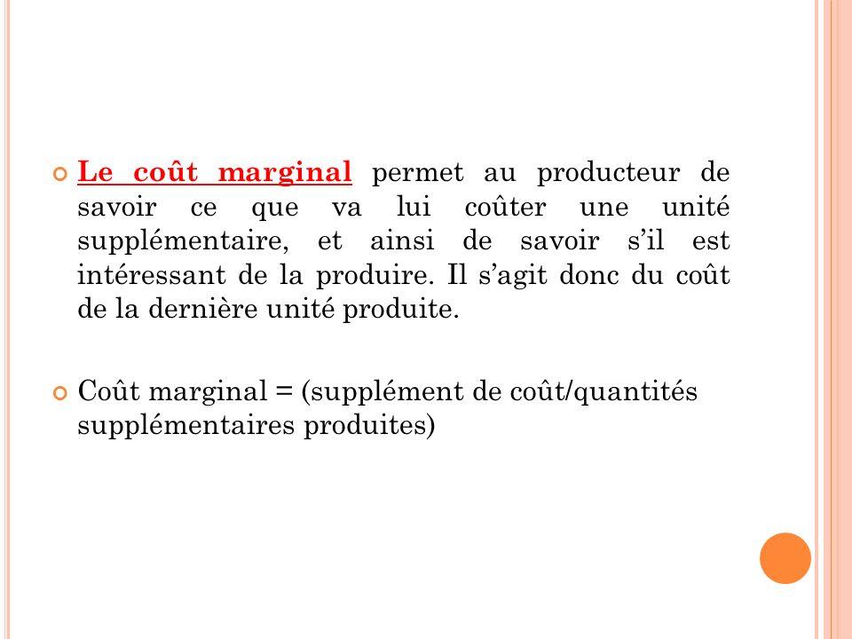 Le coût marginal permet au producteur de savoir ce que va lui coûter une unité supplémentaire, et ainsi de savoir sil est intéressant de la produire.