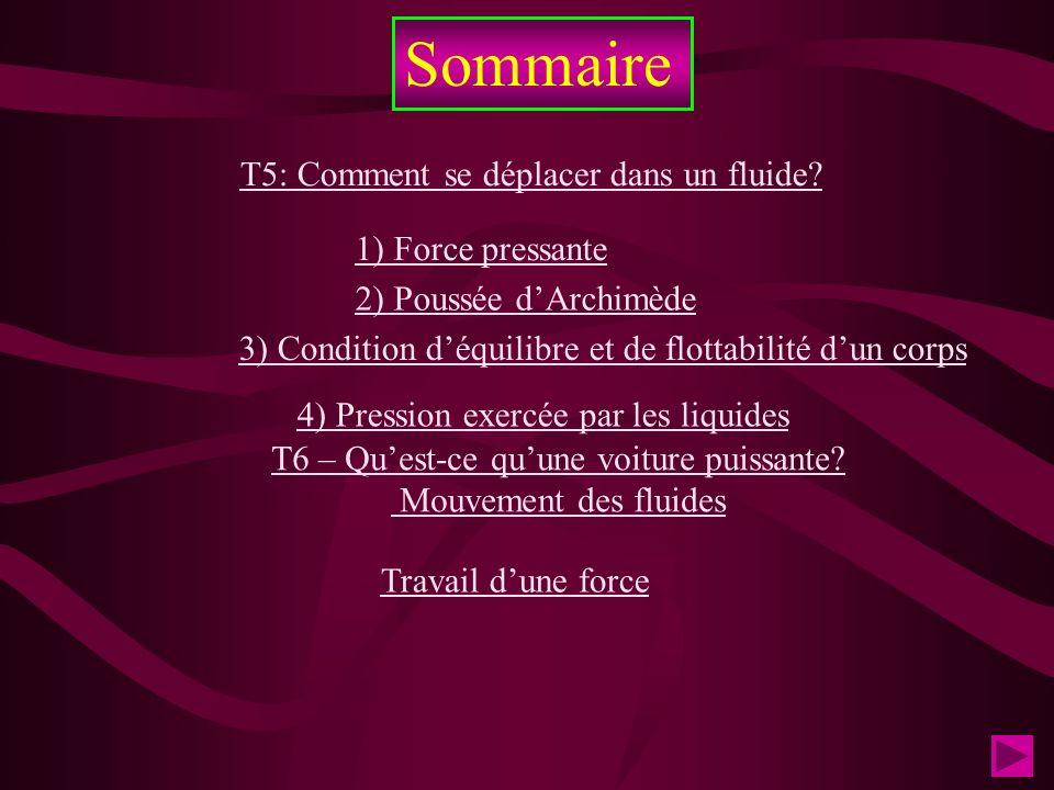 Sommaire T5: Comment se déplacer dans un fluide? 1) Force pressante 4) Pression exercée par les liquides Travail dune force 2) Poussée dArchimède 3) C