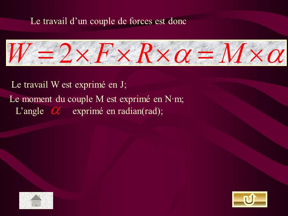 Le travail dun couple de forces est donc Le travail W est exprimé en J; Le moment du couple M est exprimé en N·m; Langleexprimé en radian(rad);