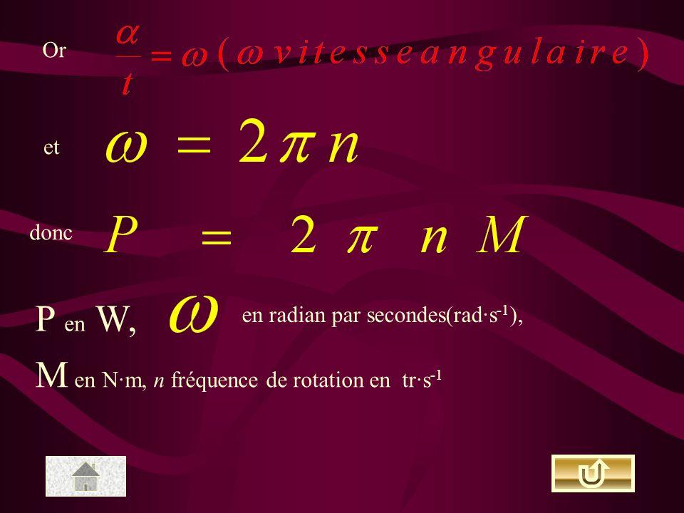 Or et donc P en W, en radian par secondes(rad·s -1 ), M en N·m, n fréquence de rotation en tr·s -1