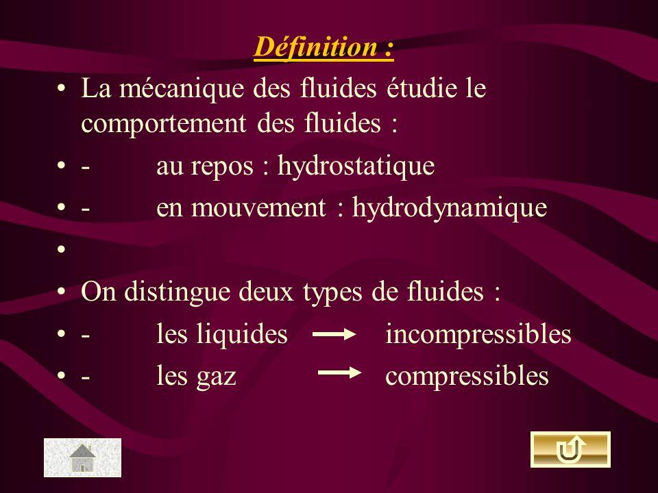 La mécanique des fluides étudie le comportement des fluides : - au repos : hydrostatique - en mouvement : hydrodynamique On distingue deux types de fluides : - les liquides incompressibles - les gaz compressibles Définition :