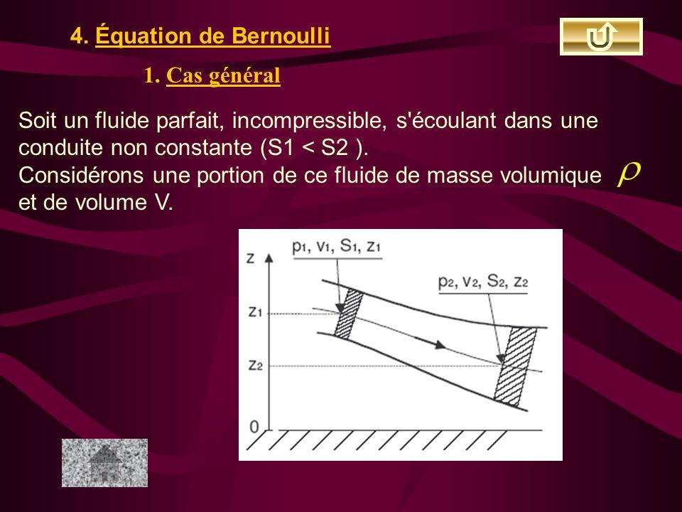 4. Équation de Bernoulli 1. Cas général Soit un fluide parfait, incompressible, s'écoulant dans une conduite non constante (S1 < S2 ). Considérons une