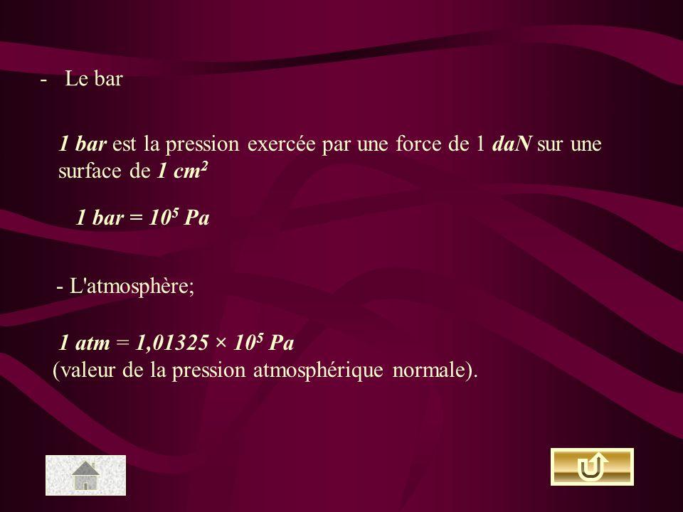 - Le bar 1 bar est la pression exercée par une force de 1 daN sur une surface de 1 cm 2 1 bar = 10 5 Pa - L'atmosphère; 1 atm = 1,01325 × 10 5 Pa (val