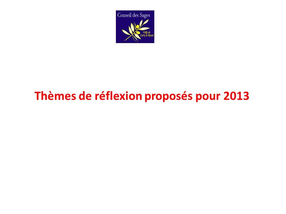 Thèmes de réflexion proposés pour 2013