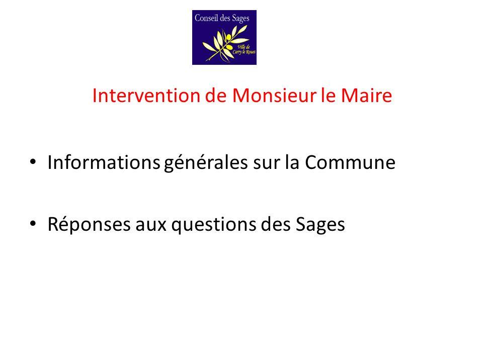 Intervention de Monsieur le Maire Informations générales sur la Commune Réponses aux questions des Sages