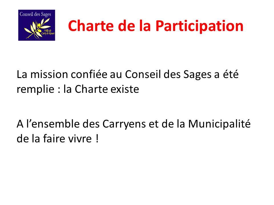 Charte de la Participation La mission confiée au Conseil des Sages a été remplie : la Charte existe A lensemble des Carryens et de la Municipalité de