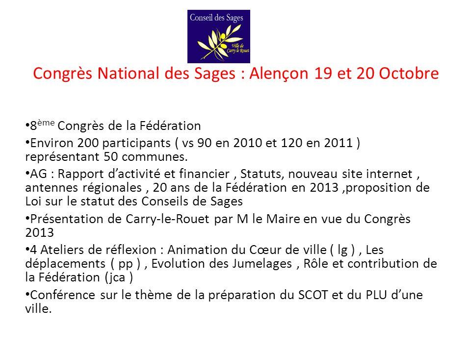 Congrès National des Sages : Alençon 19 et 20 Octobre 8 ème Congrès de la Fédération Environ 200 participants ( vs 90 en 2010 et 120 en 2011 ) représe