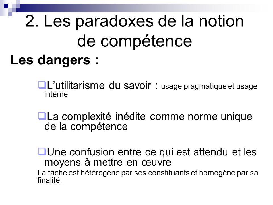 2. Les paradoxes de la notion de compétence Les dangers : Lutilitarisme du savoir : usage pragmatique et usage interne La complexité inédite comme nor