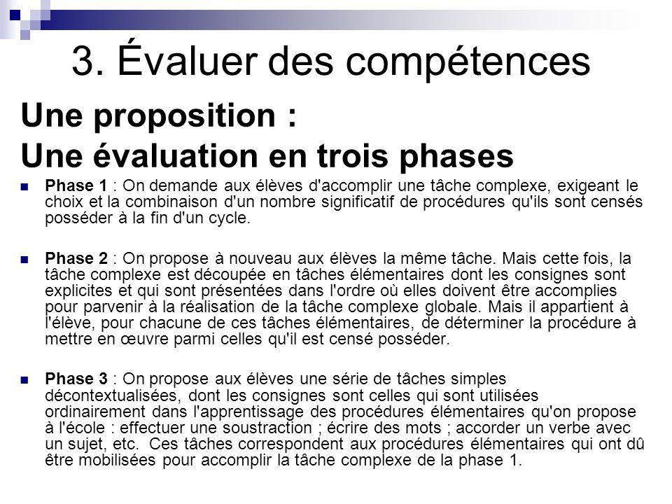 3. Évaluer des compétences Une proposition : Une évaluation en trois phases Phase 1 : On demande aux élèves d'accomplir une tâche complexe, exigeant l
