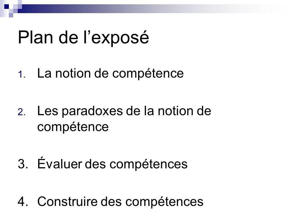 Plan de lexposé 1. La notion de compétence 2. Les paradoxes de la notion de compétence 3.Évaluer des compétences 4. Construire des compétences
