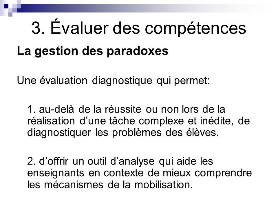 3. Évaluer des compétences La gestion des paradoxes Une évaluation diagnostique qui permet: 1. au-delà de la réussite ou non lors de la réalisation du