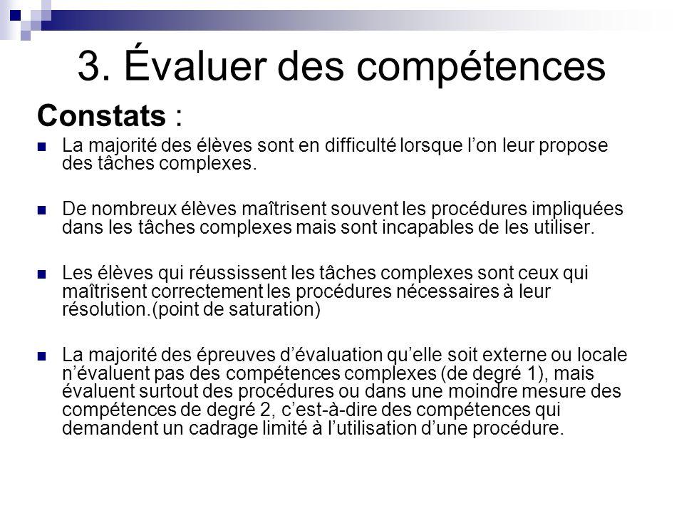 3. Évaluer des compétences Constats : La majorité des élèves sont en difficulté lorsque lon leur propose des tâches complexes. De nombreux élèves maît