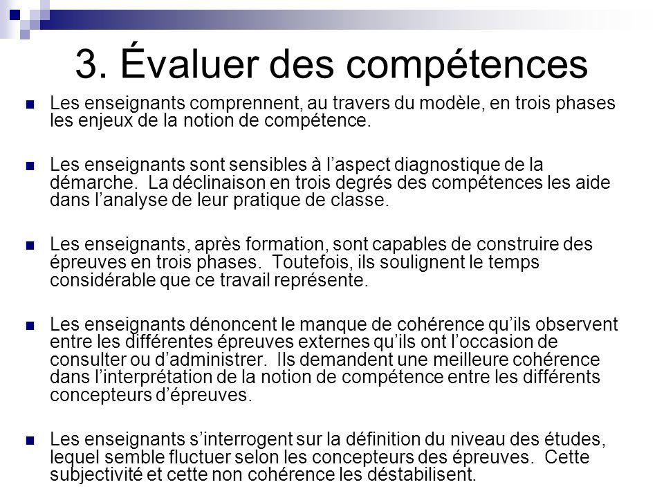 3. Évaluer des compétences Les enseignants comprennent, au travers du modèle, en trois phases les enjeux de la notion de compétence. Les enseignants s