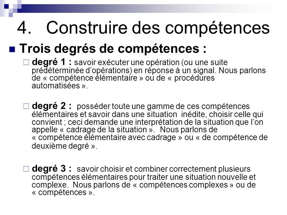 4.Construire des compétences Trois degrés de compétences : degré 1 : savoir exécuter une opération (ou une suite prédéterminée dopérations) en réponse