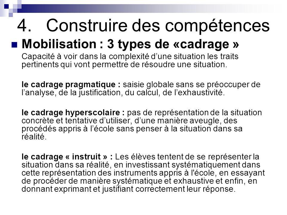 4.Construire des compétences Mobilisation : 3 types de «cadrage » Capacité à voir dans la complexité dune situation les traits pertinents qui vont per